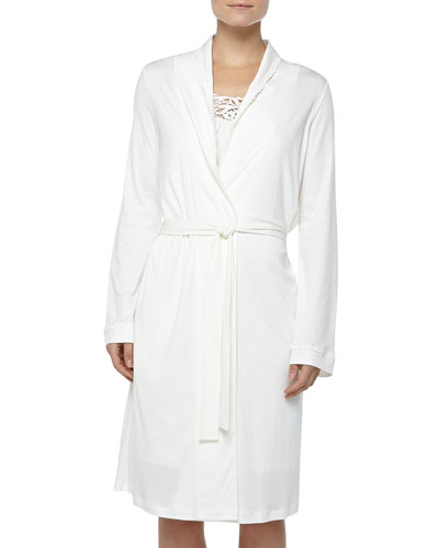 Hanro Queens Lace-Detailed Robe, Off White