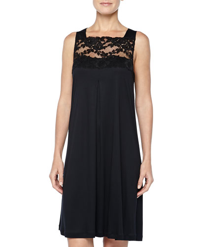 Hanro Met Leavers Lace Tank Gown, Black