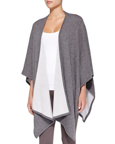 Neiman Marcus Cashmere Two-Tone Shawl, Charcoal/Dove