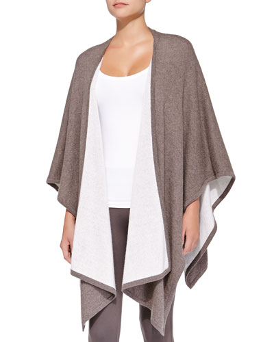 Neiman Marcus Cashmere Two-Tone Shawl, Mink/Ivory