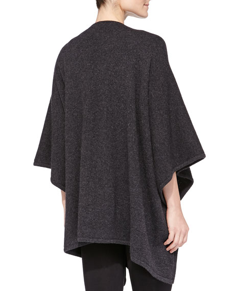 Cashmere Reversible Shawl, Dark Charcoal/Black
