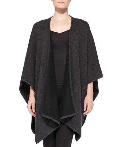 Neiman Marcus Cashmere Reversible Shawl, Dark Charcoal/Black