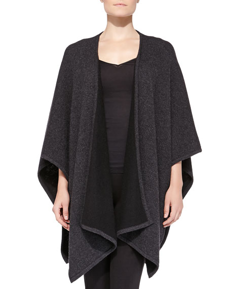 Cashmere Reversible Shawl, Dark Charcoal/Black