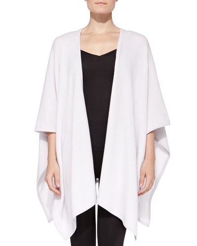 Neiman Marcus Cashmere Two-Tone Shawl, Dove/Ivory