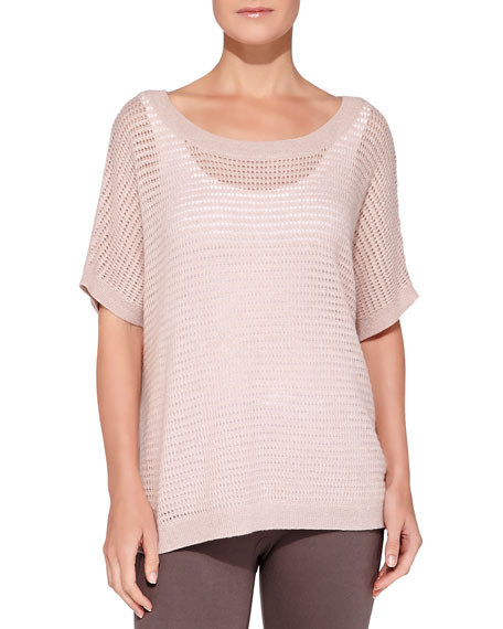 Neiman Marcus Cashmere Waffle-Knit Top