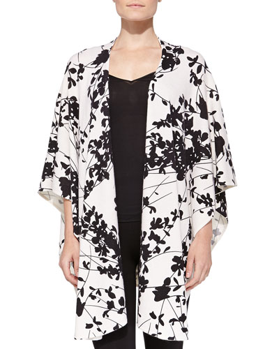 Neiman Marcus Cashmere Asian Floral-Print Shawl