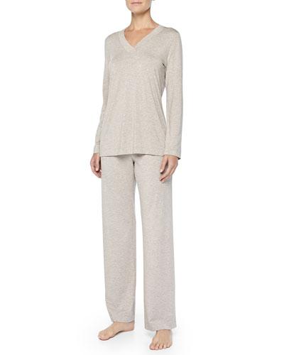 Hanro Champagne Soft Jersey Pajama Set, Dark Stone
