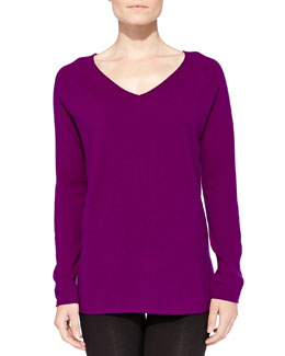 Neiman Marcus Cashmere V-Neck Pullover Sweater