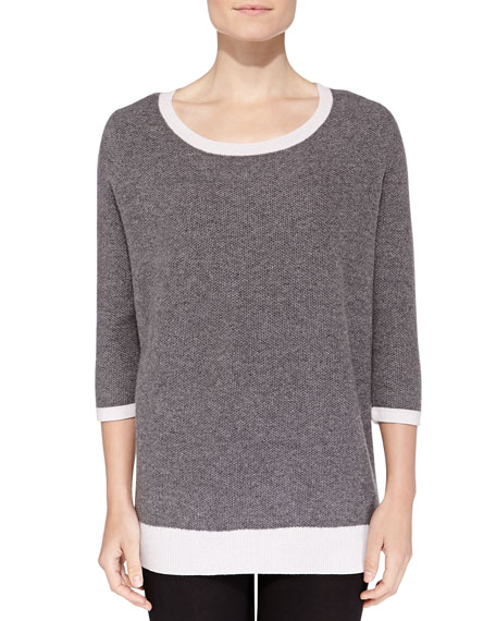 Cashmere Two-Tone Honeycomb-Knit Sweater