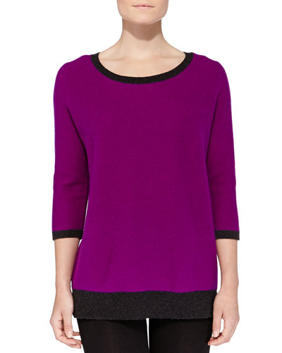 Neiman Marcus Cashmere Two-Tone Honeycomb-Knit Sweater