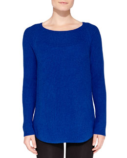 Neiman Marcus Cashmere Rib-Knit Sweater
