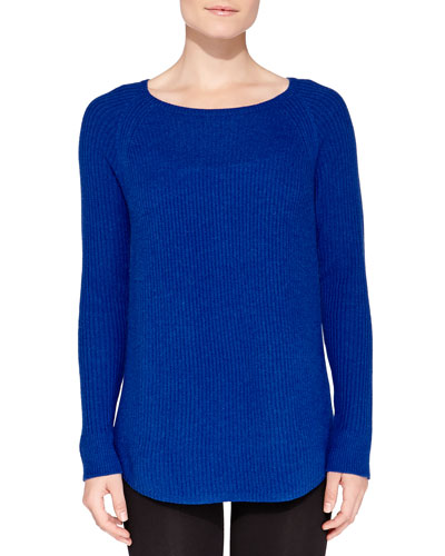 Neiman Marcus Cashmere Rib-Knit Sweater