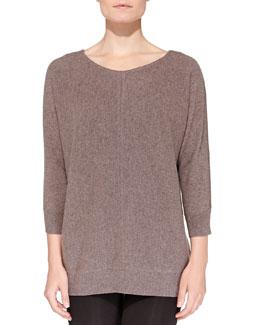 Neiman Marcus Cashmere Stitch-Front Crewneck Sweater