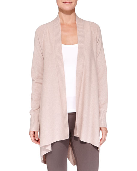 Cashmere Ribbed-Trim Waterfall Cardigan