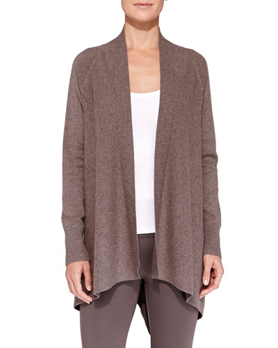 Neiman Marcus Cashmere Ribbed-Trim Waterfall Cardigan