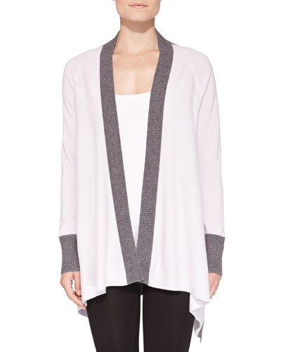 Neiman Marcus Cashmere Two-Tone Waterfall Cardigan