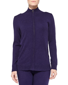 Neiman Marcus Cashmere Basic Zip Jacket