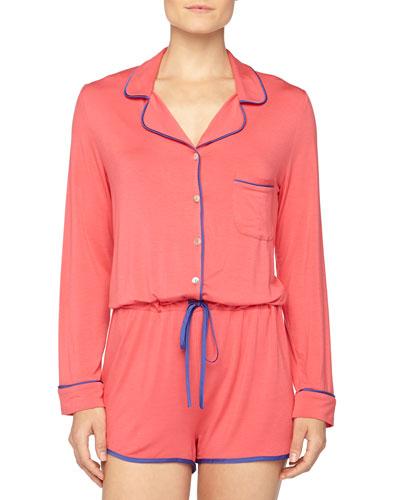 Fleur't Short Contrast-Trimmed Button-Front Jumpsuit, Paradise Pink