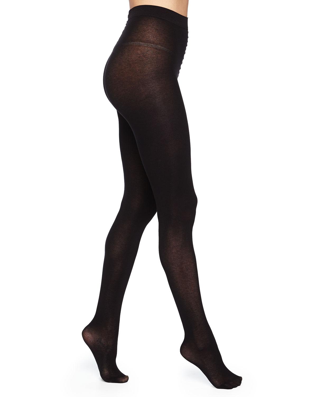 d12e8bd5159 Alice + Olivia Silk-Effect Cashmere-Blend Tights, Black | Neiman Marcus