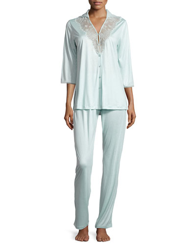 Sophia Lace-Trim Pajama Set, Aqua