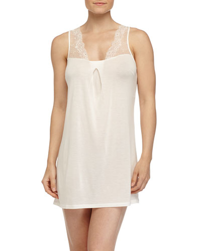 Magnolia Lace-Trim Jersey Babydoll, Naturale