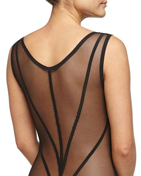 Scroll-Print Mesh Bodysuit, Black