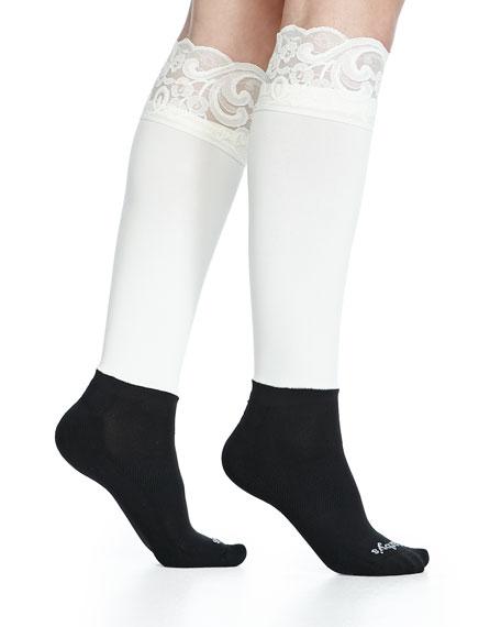 Lace-Trimmed Knee Socks
