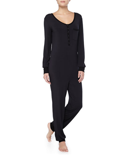 Long-Sleeve Contrast-Trimmed Jumpsuit, Black