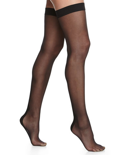Flavia Zig-Zag Seam Thigh-Highs, Black