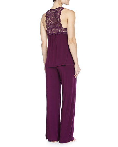 Belle Epoque Lace Racerback Tank and Silk Tie Pant PJ Set, Potent Purple
