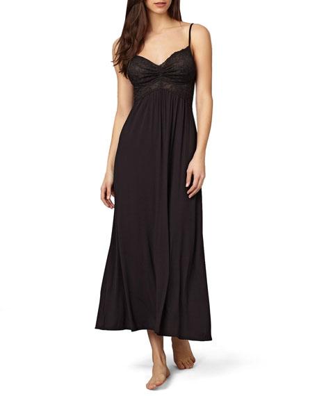 Donna Karan Lace-Top Liquid Jersey Long Gown, Black