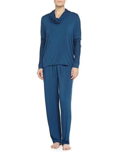 Liquid Jersey Cowl-Neck Pajama Set, Blue