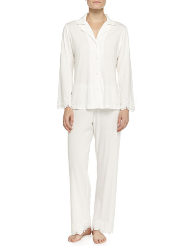 Heirloom Trellis Jersey Pajama Set, Ivory