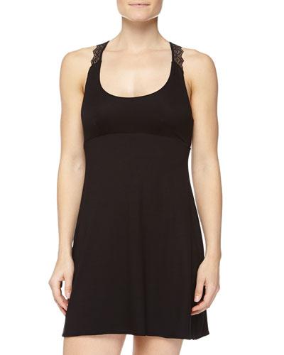 Papyrus Short Slip Dress, Black
