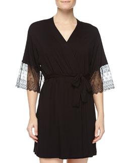 Papyrus Short Robe, Black