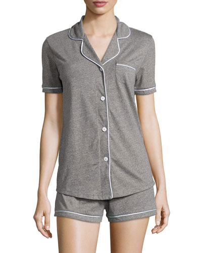 Bella Two-Piece Short Pajama Set, Heather Gray