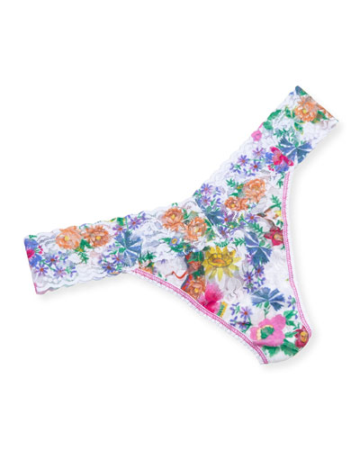 Original-Rise Wildflower Lace Thong, White-Floral