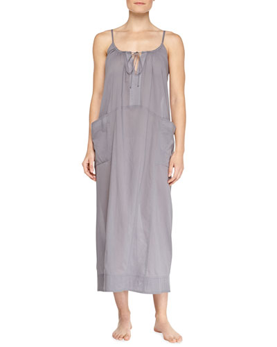 Tie-Front Cotton Batiste Long Gown, Graystone