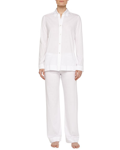 Pima Cotton Pajama Set, White
