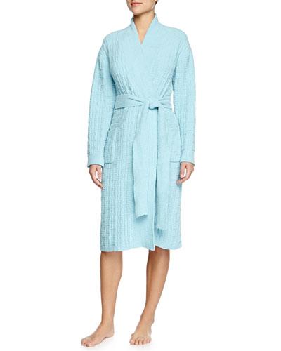 Truffle Knit-Chenille Wrap Robe, Light Caribe Blue