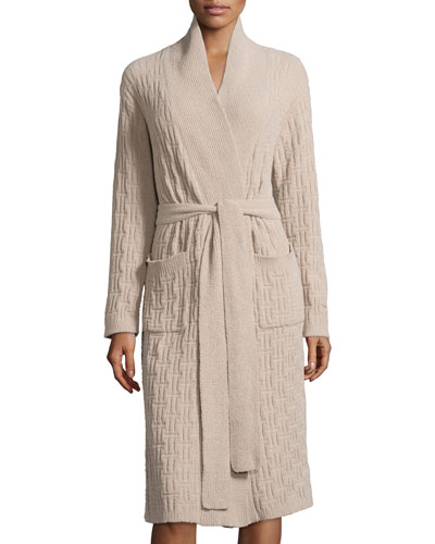 Truffle Knit-Chenille Wrap Robe, Cashmere