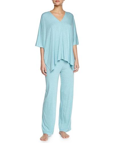 Shangri La Two-Piece Tunic Pajama Set, Freshwater, Women