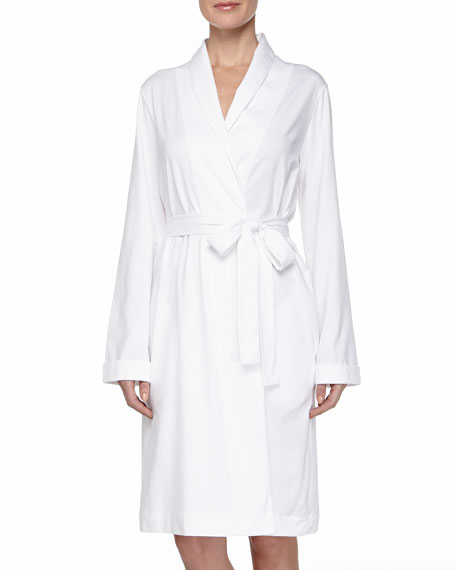 Hanro Cotton Wrap Jersey Robe, White