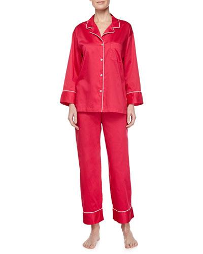 Long-Sleeve Cotton Sateen Pajama Set, Dragon Fruit