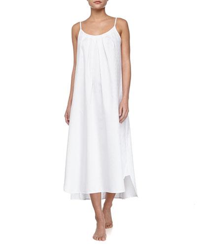 Long Paisley-Print Cotton Gown, White