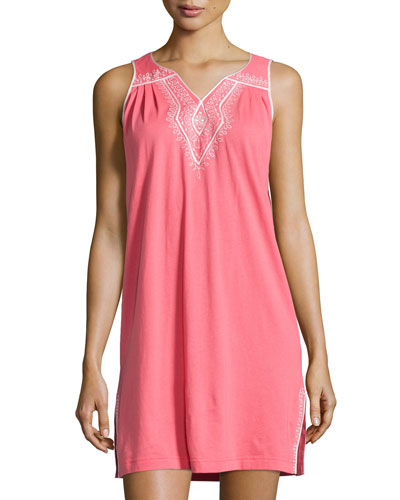 Embroidered-Scroll Jersey Nightgown, Pink Coral