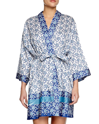 Lotus-Print Short Robe, Blue