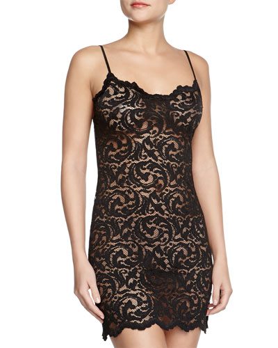 Boudoir Sheer Lace Chemise, Black