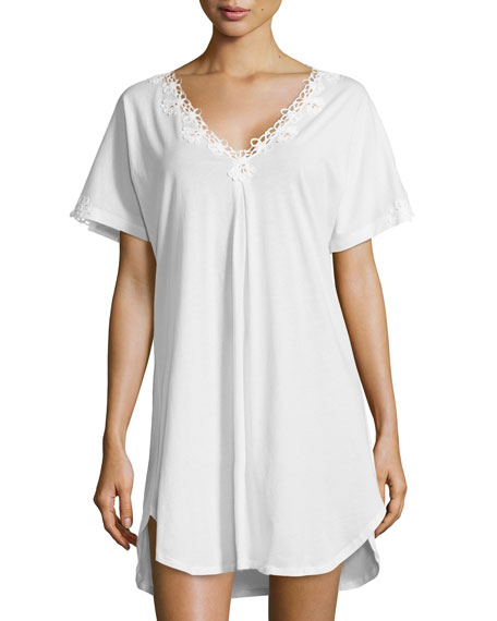 oscar de la renta v neck embroidered sleep shirt