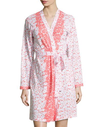 Floral-Print Wrap Short Robe
